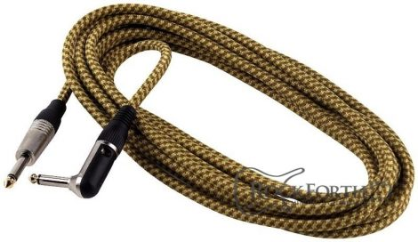 RockCable Instrument Cable - straight TS (6.3 mm / 1/4), braided cloth mantle, black - 6 m / 19.7 ft.