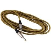 RockCable Instrument Cable - straight TS (6.3 mm / 1/4), braided cloth mantle, gold - 9 m / 29.5 ft.